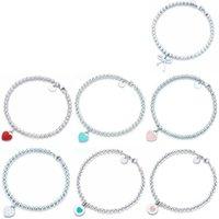 100% 925 Pulsera colgante en forma de corazón de plata de ley 100% 925 Diseño de marca original TIF del encanto para mujeres Logotipo de joyería fina Y19062901