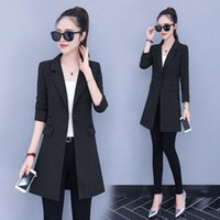 Women's Jackets 2021 Spring And Autumn Fashion Long Section Slim Slimming Striped Casual Suit Thin Coat