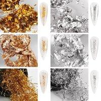 1ボックスグリッターアルミフレークミラー不規則な釘箔紙ゴールドシルバークロム顔料ネイルアート装飾