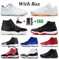 NikeAirJordanRetro11Jordans11sJumpmanAJ scarpe da basket 25th Anniversary low Concord Bred HIGH Space Jam Cap and Gown Gamma Blue Jumpman 23 uomini Sneakers Trainers