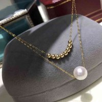 Necklaces Zhixi Real 18k Gold Pearl Necklace Pure Solid Au750 Chain White Natural Akoya Seawater Pearls for Women Wedding Fine Jewelry D54