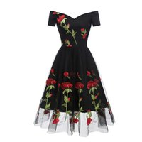 Rose Embroidery Off The Shoulder Dress Women Midi A Line Prom Bridesmaid Wedding Cocktail Birthday Party Occasion Dresses Casual