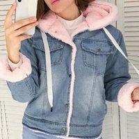 IFashionn Women Denim Jacket With Fur Winter Jeans Warm Hooded Velvet Femme Faux Collar Padded Bomber Windbreake2 Women's Jackets