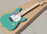 Outlet de fábrica: tres colores 6 cuerdas Mini guitarra eléctrica con patrón de gato, freboard de arce, adecuado para viajes / niños