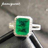 Pansysen 925 Sterling Prata Esmeralda Paraiba Tourmaline Anéis para Mulheres Engajamento Cocktail Ring Fine Jewelry Presente Gota