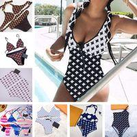 Impreso para mujer Bikinis Traje de baño Underwear One Shouler Sexy Bikini Bikini Summer Beat Nadado Traje de baño