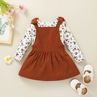 Girls Clothing Set Floral Tops+Suspender Dress Outfits Fall 2021 Kids Boutique Clothes 1-5T Children Cotton Long Sleeves 2 PC Suit Casual