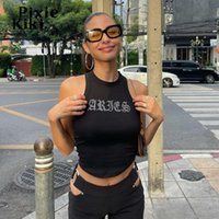 Women's Tanks & Camis PixieKiki Crystal Letter Black Ribbed Tank Top Women Streetwear Indie Aesthetic Y2k Clothes Sexy Bling Crop Tops P15-A