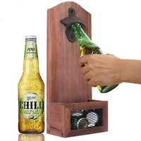 1pcs Vintage Wall Mounted Beer Bottle Opener With Magnetic Solid Wood Plate Bar Drinking Kitchen Accessories T200507 2841 Q2
