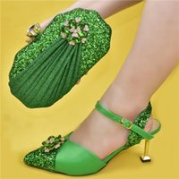 Dress Shoes Latest Design Slip-On Party Italian Designer And Bags Matching Set In Women High Quality African Wedding Shoe