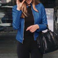 Women's Leather & Faux 2021 Women Autunm Winter Black Blue Fake Jackets Lady PU Zipper Pocket Motorcycle Outerwear Coat Belt