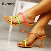 Slippers Rxemzg Women Sandals Summer Outdoor Square Toe Slides Party Shoes Woman Heels Black Fashion Knot Mule Sexy Sandal