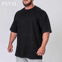 PSYSL New Summer Herren T-shirt Sweep T-shirt Flacher Saum Lange Linie Tops Hip Hop Urban Leere Streetwear Mode Fitness Kurzarm H0911