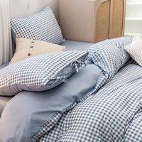 Кровать в японском стиле Четырех частей INS INST Wind Листовое одеяло Крышка из трех частей Общежитие Односпальные Постельные принадлежности 4 Части Наборы