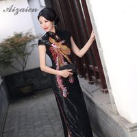 2020 paillettes noires Phoenix Cheongsam Longues Robes Longues Chinoise Collier Qi Pao Femmes Chinoise Robe traditionnelle Qipao Vintage Robe 1