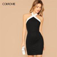 Colrovie Black Kontrast Haltereck Bodycon Kleid Frauen ärmelloses sexy Backless Minikleid 2020 Schlanke elegante Bleistiftkleider