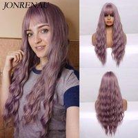 Длинные волны фиолетовые розовые зеленые синие синтетические парики для женщин-вечеринки ежедневно используйте косплей вьющиеся парик натуральные волнистые волосы