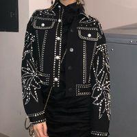 Women's Jackets Punk Denim Jeans Jacket Coats Women Fashion High Quality Runway Designer Luxury Diamond Pearls Beading Long Sleeves Tops