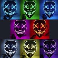 Stati Uniti Fotografia Stock Halloween Maschera horror LED Maschere incandescente Purgita Maschere Costume Elezione DJ Party Light Up Masks Glow in Dark 10 Colors