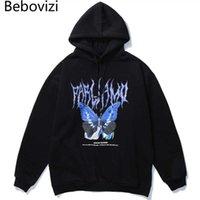 BEBOVIZI Männer Hip Hop Blue Butterfly Print Hoodie Sweatshirt Mann Harajuku Streetwear Übergroßen Hoodie Pullover 2020 Herbst Baumwolle X0610