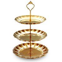 Argento d'oro in acciaio inox acciaio inox torta stand stand di nozze torta di compleanno rack home creativo dado caramella pasticceria piastra rifornimenti per feste navale libera