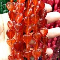 28pcs 자연석 심장 모양 오렌지 마노 쥬얼리를위한 붉은 느슨한 구슬 팔찌 DIY 액세서리 15 * 15 * 5mm
