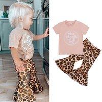 Conjuntos de roupas FocusNorm 1-6y verão linda infantil meninas roupas carta impressa manga curta camisetas Leopard flare calças 2 pcs