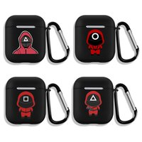 TV Squid Game Earphone Cases Cover for Airpods 2 3 Pro Cartoon Black Frosted Headset Protective Case X1013C