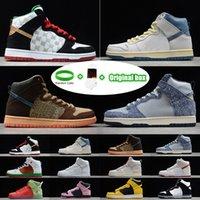 "[Braccialetto + calzini + scatola originale] SB Dunk High ""Strawberry Cough"" Strawberry Cough Paul Rodriguez Invert Celtics Varsity Maize casual sports skateboard shoes"
