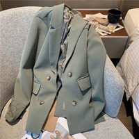 Women's Suits & Blazers Korean Women Gray-Green Patchwork Double Breasted Blazer Office Lady Notched Collar Long Sleeve Autumn Suit Jacket F