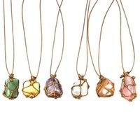 Colle en cristal naturel irrégulier corde tressé de pendentif main à la main avec chaîne pour femme fille pull de mode bijoux 1203 b3
