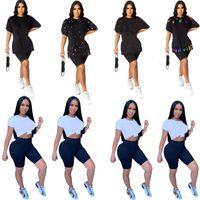 Größe Frauen Brief plus Druck T Casual T-Shirt Rate Hals Hemden Sommer Kleidung Mode Kurzarm Sport Tank Top Hot 4571