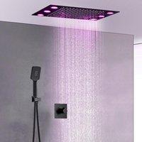 Set doccia nero opaco a pioggia LED 360x500 Testa da soffitto nascosta e fredda 2 modi miscelatore bagno moderno set da bagno