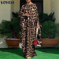 Casual Dresses Women Kaftan Dress 2021 VONDA Vintage Leopard Printed Party Long Maxi Sleeve Pleated Vestido Oversized Robe