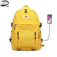 Fengdong High School Sac à dos Étanche Jaune Noir Port USB Port-Port Large pour les sacs de filles pour garçons adolescents