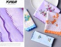 Mulheres lenços 100% algodão Floral Flor Hankie Flor Bordado Handkerchief Colorido Ladies De Bolso Toalhas Festa de Casamento Favor Hwe6036