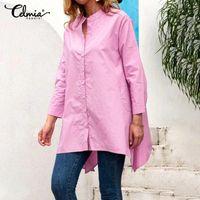 Celmia Damenmode Asymmetrische Hemden Herbst Tops Langarm Casual Loose Buttons Bluse Elegante Arbeit Solide Blusas Femininas Frauen BLO