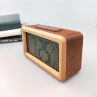 Wooden Digital Alarm Clock,Sensor Night Light With Snooze Date Temperature Clock LED Watch Table Wall Clocks HHA5497