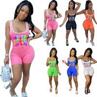 Jumpsuits das mulheres verão macacão casual shorts colete camiseta esportes yoga carta de impressão de letra plus size s / m / l / xl / 2xl