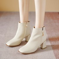 Carvin Womens Shoes Winter New Beige Simple Square Toe Martin Boots Womens Fashion Boots Women Chunky Mid Heel Booties Women