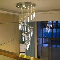 الدرج droadlight دخول مزدوج بناء مصابيح قلادة الكريستال الحديثة غرفة المعيشة طويل الثريا الصمام مصباح الإبداعي