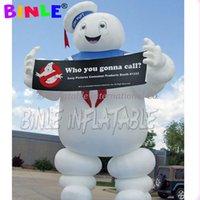 مفصل العملاق قابل للنفخ ghostbuster البقاء في puft، marshmallow رجل مع الإعلان دعاية أضواء للديكور هالوين