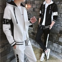 Sports Suit Mens 2021 Spring and Autumn Soccer Casual Korean Style Trendy Handsome Color Contrast Patchwork Cardigan Sweater