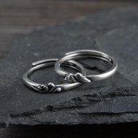 Cluster Ringe echt 925 Sterling Silber Paar für Frauen Männer Berg Meer Liebe Offene Art Retro Antique Fine Schmuck