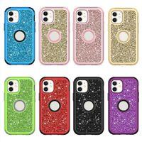 Glitter Electoplante 2in1 Diamante Android Mobile Phone Case Cobertura do corpo completo para iphone 6 7 8 11 12 Pro Max X X Samsung S20 S21 Nota 20 S10