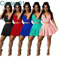 Women Tracksuits Two Pieces Set Deisgner Slim Sexy Sleeveless Mandy Dress Solid Colour Sports Leisure Multicolor Vest Skirt Suits 5 Colours
