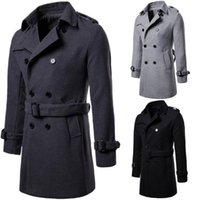 Mens Coats Autumn and Winter Newest Large Size Mens Long Coat Woolen Asian Size S-2XL Cloth Overcoat Black Grey Colors Men Trench Coat