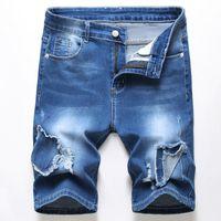 Männer Designer zerrissene Jeans gemalt Blue Denim Shorts Herren Sommer Dehnbarer Slim Fit Beunruhigte Beiläufige Retro Große Größe WASHED MOTO LOCH BIKER Hosen 388