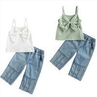 1 6y Summer Cute Kids Girls Clothes Sets Solid Sleeveless Big Bow Vest Tops Pearl Denim Pants 2pcs