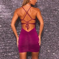 Casual Dresses Strap Dress 2021 Summer Ruched Black Midi Tank 2 Layer Bandage Sexy Women Prom Wrap Party Backless Purple Corset Bodycon